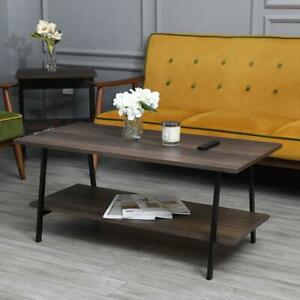Coffee Table 2 Tier Cocktail Table w Storage Shelf Wood Living Room Furniture $69.99