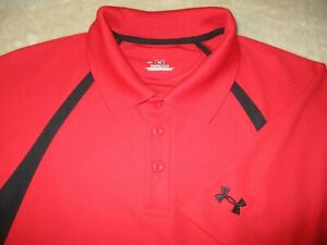 Mens UNDER ARMOUR Polo Golf Shirt Heat Gear Red Black M Medium $19.99