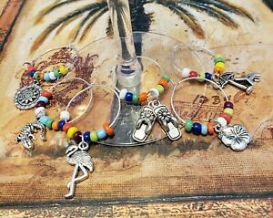 Set of Wine Charms Tropical Summer Beach Theme 6 Pieces