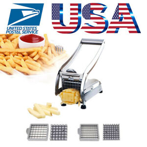 Stainless Steel French Fry Cutter Vegetable Potato Chopper Slicer Dicer 2 Blades