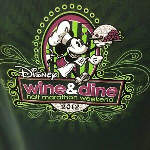 2012 Disney Wine and Dine Champion Shirt L Long Sleeve Running Double Dry Green $28.71