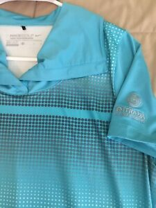 WOMENS Shirt Polo Golf Sz L NIKE DRI FIT TOUR PERFORMANCE Teal Poly 👍🏻 $14.99