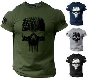 Skull T Shirt USA Warrior Flag Distressed Military $13.90