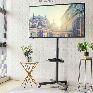 Mobile TV Cart Stand with Wheels Swivel Mount for 32 60 Inch TVs