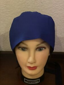 2x surgical scrubs hat light Blue and Royal blue