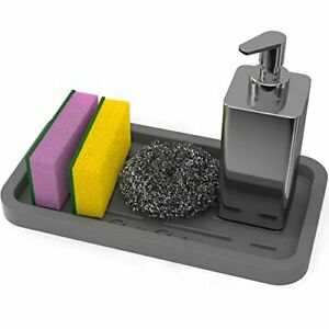 GOOD TO Silicone Sponges Holder Kitchen Sink Organizer Tray for Gray