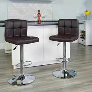 Modern Contemporary Brown Quilted Vinyl Adjustable Height Barstool w/Chrome Base