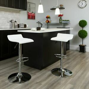 Contemporary White Vinyl Adjustable Height Barstool w/Quilted Wave Seat