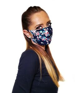 Flowers Print Face Mask Made In USA! Light Fabric,Breathable,Washable,Reusable!