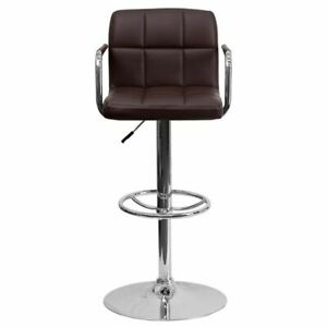 Contemporary Brown Quilted Vinyl Adjustable Height Barstool w/Arms