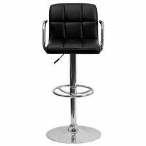 Contemporary Black Quilted Vinyl Adjustable Height Barstool w/Arms