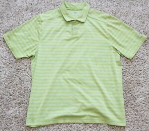 Under Armour Heat Gear Mens Green White Striped Short Sleeve Golf Polo Large L $20.99