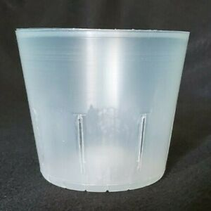 Clear Plastic Slotted Orchid Pot Round 4 Inch Diameter Set of 5