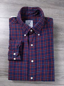 Brooks Brothers Sport Shirt Red Blue Plaid Long Sleeve Button Front Size Medium $14.95