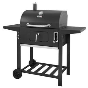 24 in. BBQ Charcoal Grill in Black with 2 Side Table