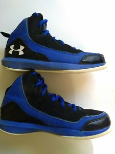 UNDER ARMOUR BOYS BLUE HIGH TOP SHOES size 2Y YOUTH basketball $22.00