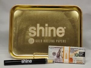 SHINE GOLD 9.25quot;x11quot; Rolling Tray Shine 24K amp; Blaze Cones amp; 100$ Wallet Papers