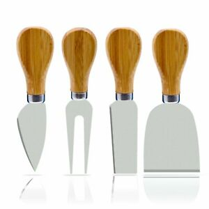 4 Pieces Set Cheese Knives with Bamboo Wood Handle Steel Stainless Cheese Slicer