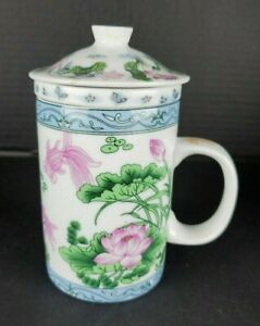 3 Piece Ceramic Tea Cup with Lid and Infuser Oriental Style