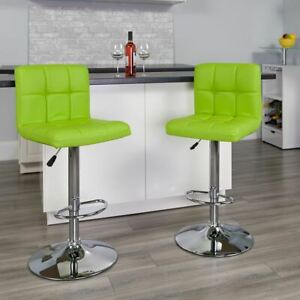 Modern Contemporary Green Quilted Vinyl Adjustable Height Barstool w/Chrome Base