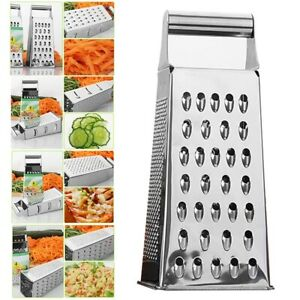 Kitchen Stainless Steel 4 Sided Food Grater Vegetable Cheese Shredder AS