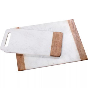 Creative Home Marble and Mango Wood Serving and Cutting Boards, Set of 2