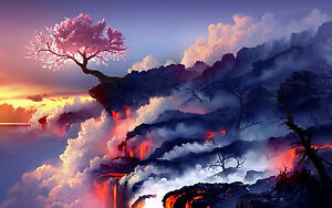 Large Framed Print Cherry Blossom Tree on the Edge of a Lava Field Picture $35.57