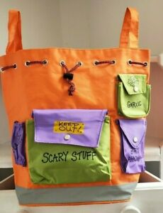 Halloween Backpack Treat Bag Bookbag Orange Purple Green Drawstring Scary Stuff