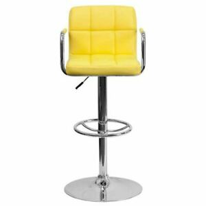 Contemporary Yellow Quilted Vinyl Adjustable Height Barstool w/Arms
