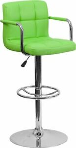 Contemporary Green Quilted Vinyl Adjustable Height Barstool w/Arms