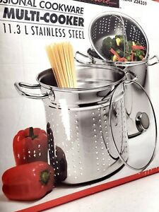 Kirklands Professional Chef 12 Qt Clad Bottom Stainless Steel Pot Pasta Strainer