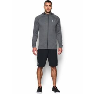 Under Armour Mens Full ZIP Tech Terry Fitted Gray Hoodie Large $11.50