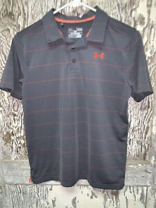 Under Armour Boys Youth Large Gray Golf Polo Shirt Loose Fit HeatGear $12.99