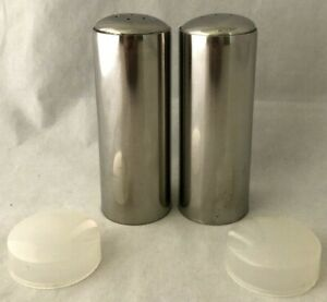Domed Stainless Cylindrical Steel Salt And Pepper Shaker Set With Plastic Caps