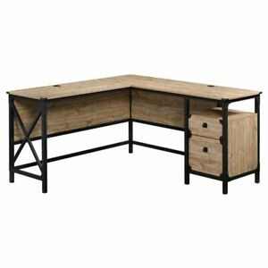 Sauder Steel River Engineered Wood and Metal L-Shaped Desk in Milled Mesquite