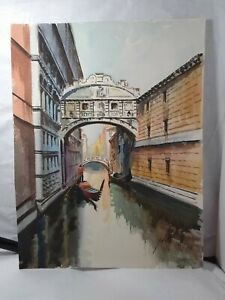 Stunning vintageOLD Original watercolor painting signed 10 x 13 VENICE ITALY $5.00