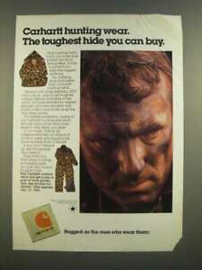 1986 Carhartt Hunting Wear Ad The Toughest Hide You Can Buy