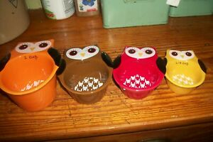 Owl Bird Ceramic Measuring Cups Set of 4 Stackable colorful