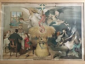 ANTIQUE © 1887 CHROMOLITHOGRAPH ANGEL DEMON THE WORK OF THE MILL OR THE STILL $325.00