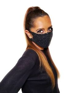 Black Sequin Face Mask Made In USA! Light Fabric,Breathable,Washable,Reusable!