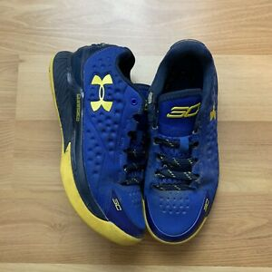 Under Armour Curry 1 Low Blue Yellow 4Y Youth Kids Boys Basketball NBA Shoes $32.50