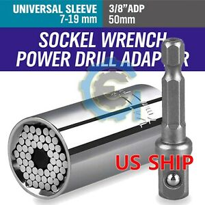 Universal Socket Wrench Magical Grip Alligator Multi Tool with Drill Adapter $7.49