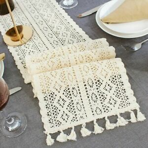 US Vintage Crochet Cotton Lace Dining Table Runner Mats Boho Wedding Party Decor