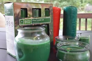 Holiday Time PIne Candle Set Candle Lite Company Pillar Candles CANDLELITE Glass