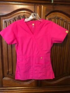 Pink Medical Nursing Scrubs V Neck 5 Pocket Size XXS