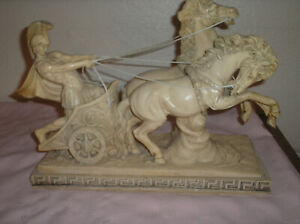 A Santini Large Italy Medieval Times ROMAN GLADIATOR Chariot Horses Sculpture $200.00