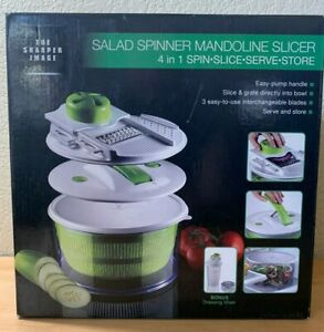 NEW Sharper Image 4 in 1 Salad Spinner Mandoline Spin Slice Serve Store NIB