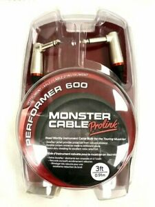 Monster Prolink Performer 600 Instrument Cable 1 4quot; Dual Angled 3 ft New $22.99