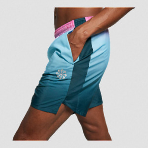 Nike Men's Challenger Dri Fit Ombre 7 Running Shorts Large Blue Pink Pinwheel $44.99
