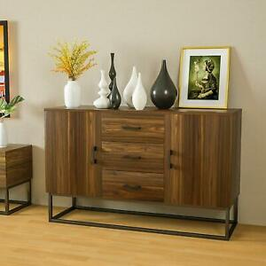 Modern Sideboard Buffet Storage Cabinet w 3 Drawers 2 Doors Console Table Brown $179.99